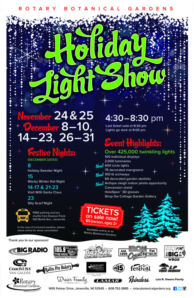 Doors Will Open At 4:30 P.m., Last Ticket Sold At 8:30 P.m.; Lights Go Dark  At 9:00 P.m., Online Tickets Available NOW! Purchase Tickets At Rotary  Botanical ...